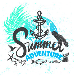 ink hand drawn summer adventure vector image