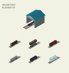 Isometric train set of lumber shipping carbon vector
