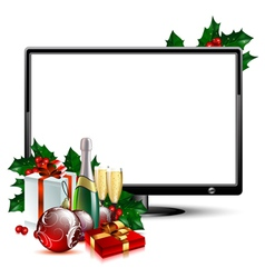 LCD panel with christmas vector image
