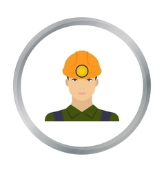 Miner icon in cartoon style isolated on white vector