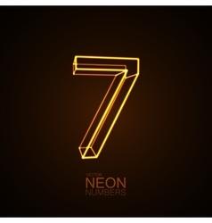 Neon 3D number 7 vector image vector image