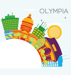 olympia skyline with color buildings blue sky and vector image vector image