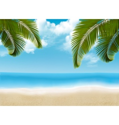 Palm leaves on beach vector