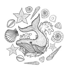 poster with whale seashells and starfishes vector image