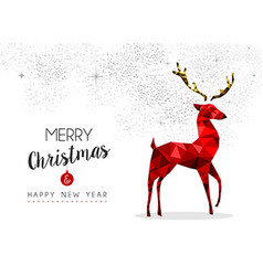 Red reindeer decoration for christmas and new year vector