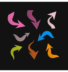 Retro Paper Arrows on Black Background vector image