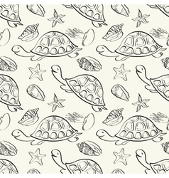 Seamless pattern marine animals contours vector
