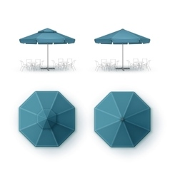 Set of Blue Patio Outdoor Cafe Pub Round Umbrella vector image