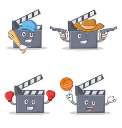 Set of movie clapper character with baseball vector