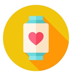 Smart Watch with Love Heart Sign Circle Icon vector image vector image