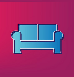 Sofa sign blue 3d printed vector