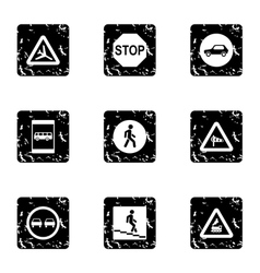 Traffic sign icons set grunge style vector image