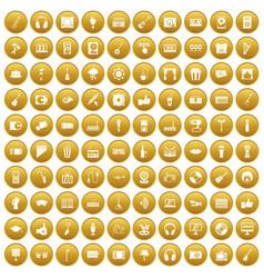 100 karaoke icons set gold vector
