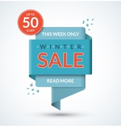 Winter sale banner Discount label vector image