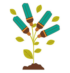 Plant stem with leaves and fluorescent bulbs with vector