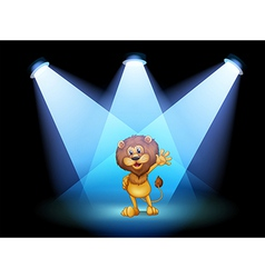 A stage with a lion waving in the middle vector
