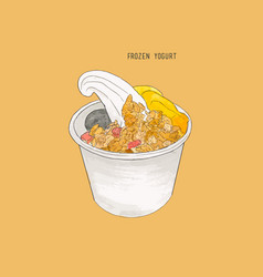 frozen yogurt sketch vector image