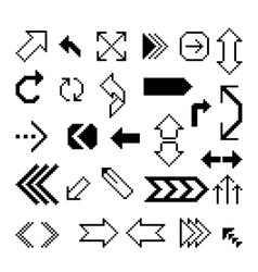 Set of pixel arrow symbol vector
