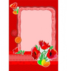 Easter cart with poppies vector