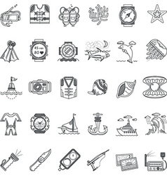 Sea leisure black line icons collection vector