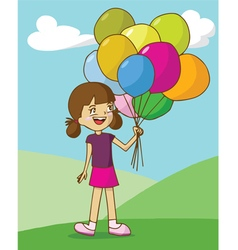 Girl holding colorful balloons on mountain and nic vector