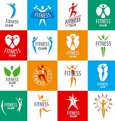 Large set of logos for fitness clubs vector