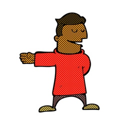 Comic cartoon man gesturing direction vector