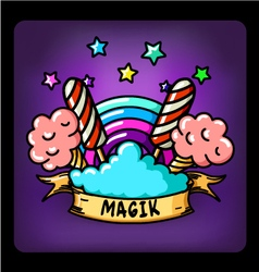 Magic rainbow cotton candy vector