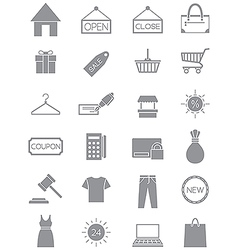 Gray shopping icons set vector