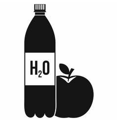 Bottle of water and red apple icon simple style vector