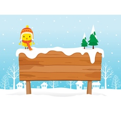 Wooden signboard on snowdrift vector