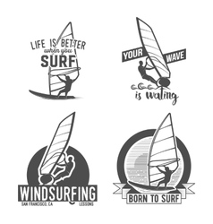 Set of windsurfing badges and logos vector
