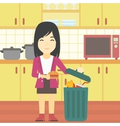 Woman throwing junk food vector