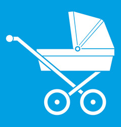 Baby carriage icon white vector