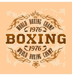 Boxing vintage label for poster flyer or t vector image