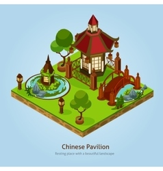 Chinese Pavilion Landscape Design Concept vector image vector image