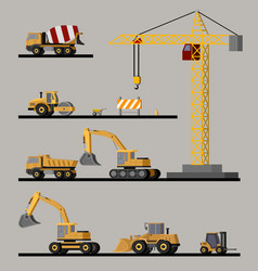 construction vehicles collection vector image