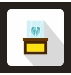 Diamond on a pedestal icon flat style vector image
