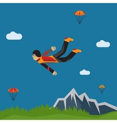 Extreme selfie parachutist flat design vector