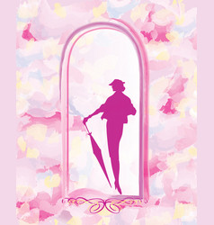 Fashion women frame background lady retro dress vector