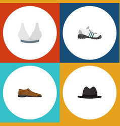 Flat icon clothes set of panama sneakers vector