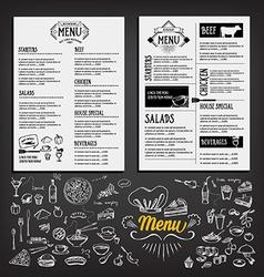 Food menu restaurant template design flyer cafe vector