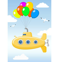 Funny yellow submarine in the sky vector