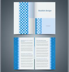 Geometric blue bifold brochure template design vector
