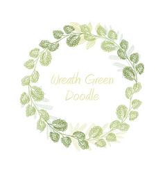 greenery doodle leaf wreath vector image vector image