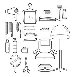 Hair salon equipments set monochrome vector