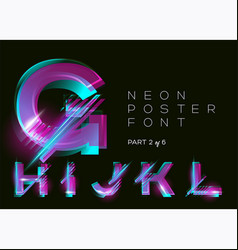 neon typeset glowing alphabet dark background vector image vector image
