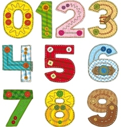 Numbers in Patchwork Style vector image vector image