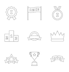 Prize award icons set outline style vector