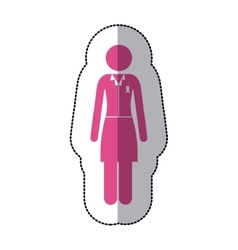 Sticker silhouette pink woman wiith formal suit vector